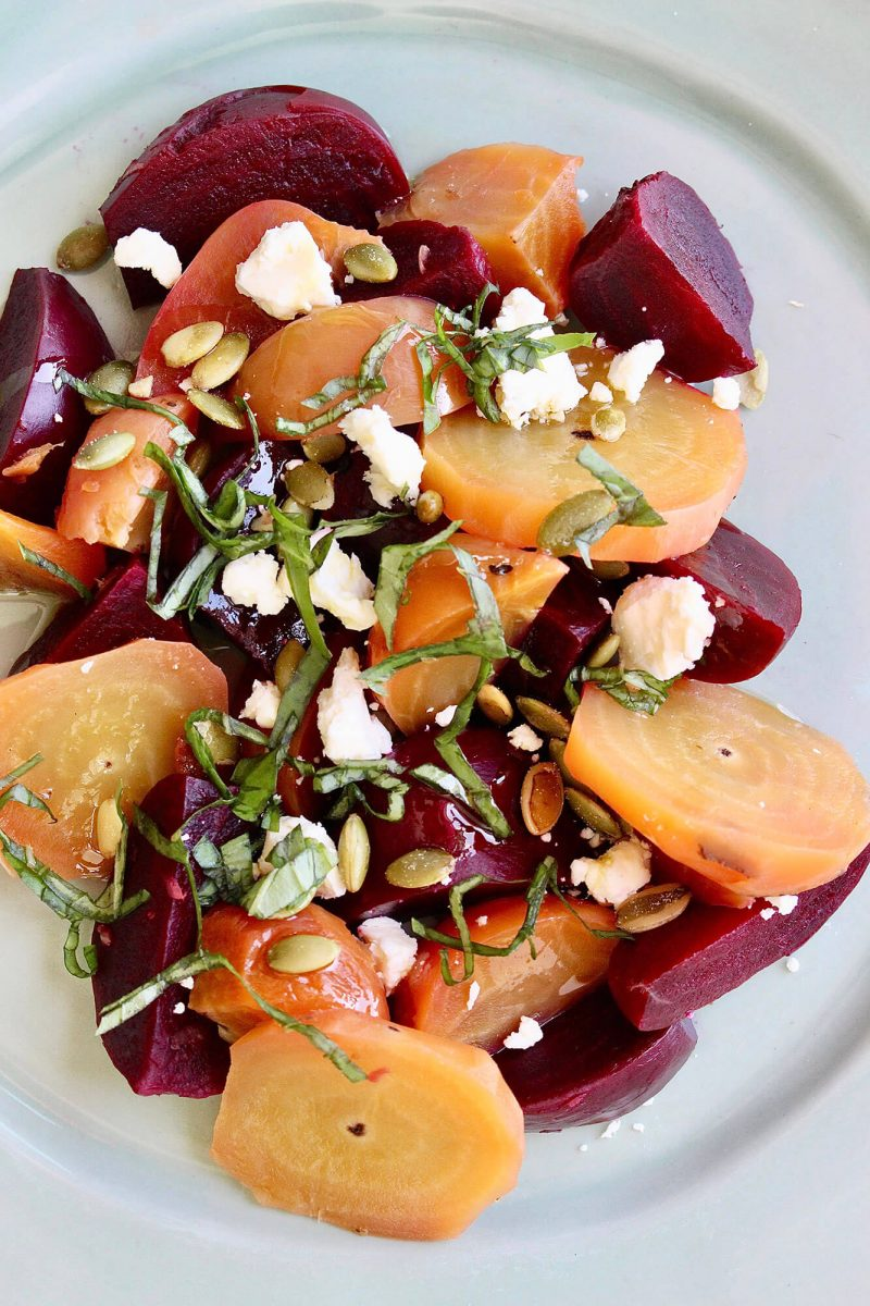 Red and Gold Beet Salad with Lemon Basil Dressing