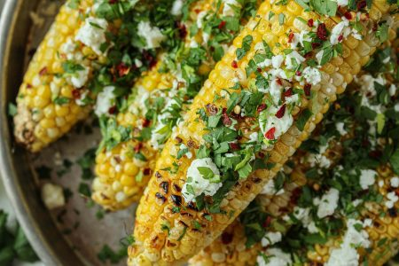 Grilled Chile Garlic Corn Plated