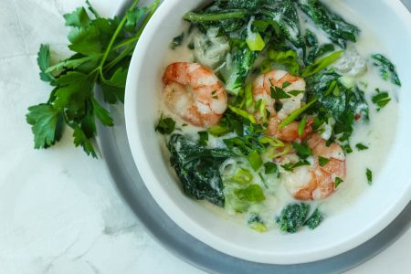 Coconut Poached Shrimp with Bok Choy