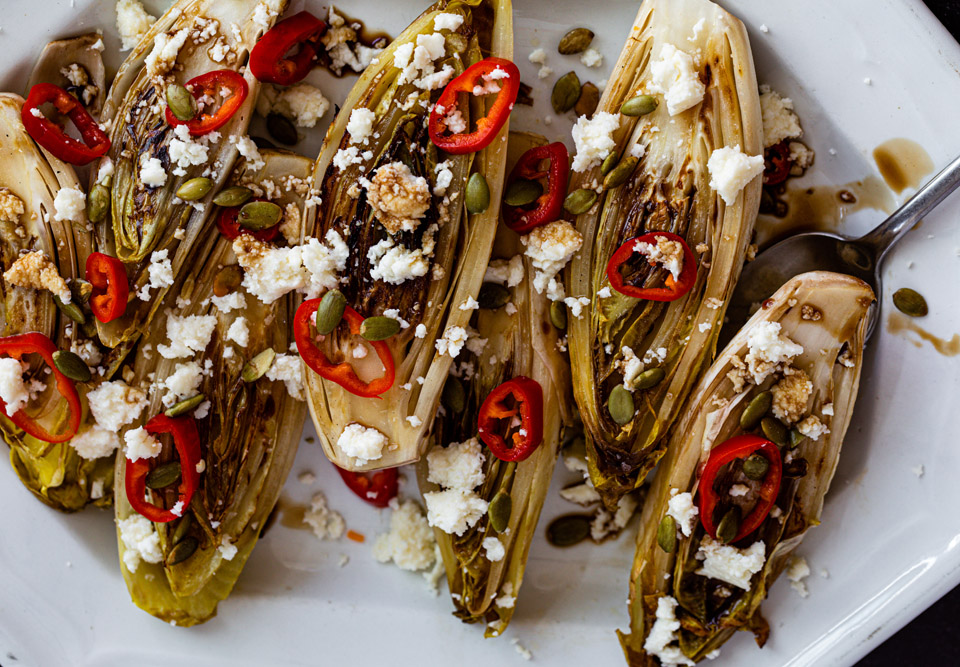 Seared Endive Salad with Pickled Fresnos and Queso Fresco