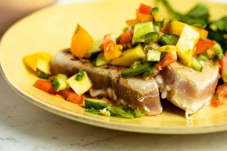 Seared Tuna Steaks with Mango Salsa
