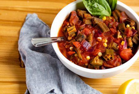 Okra, Tomatoes, and Corn