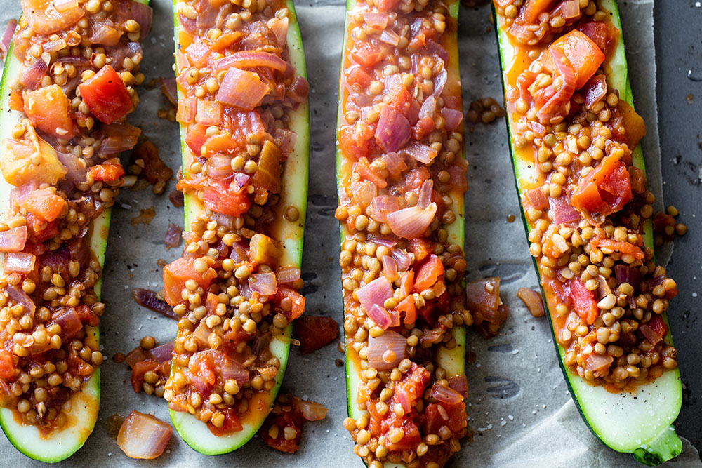 Lentil-Stuffed Zucchini Boats