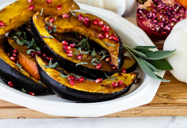 Pomegranate-Glazed Acorn Squash