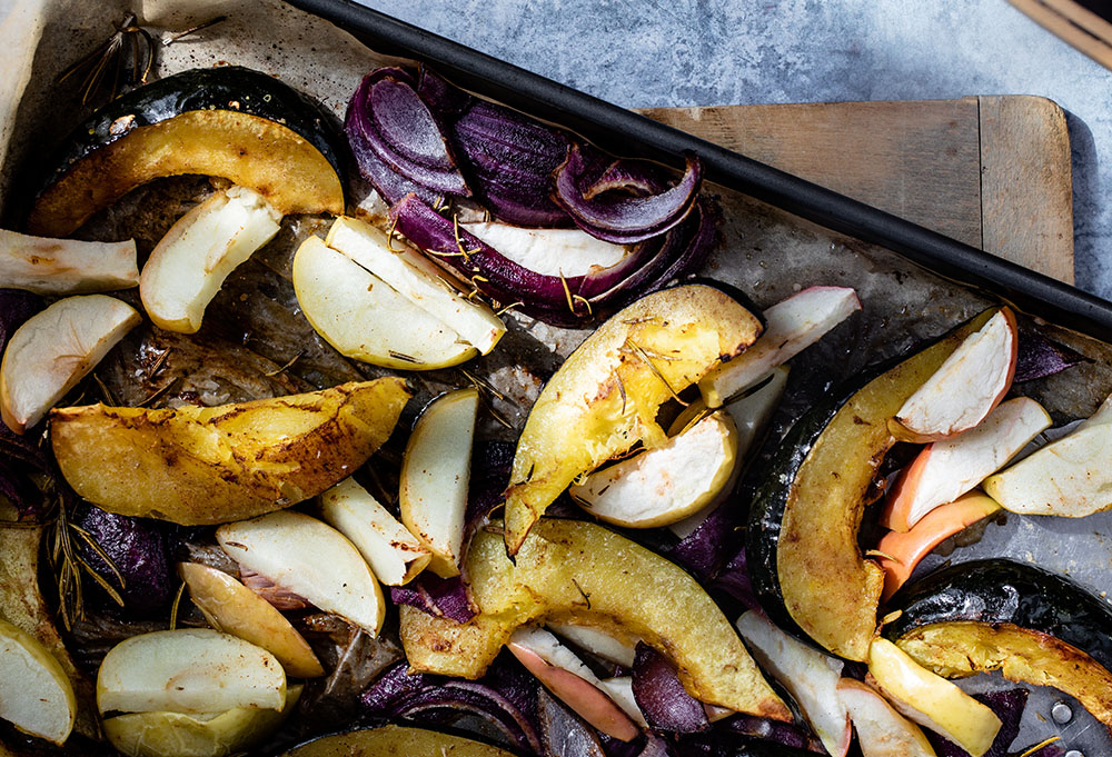 Roasted Acorn Squash, Apples, and Onions