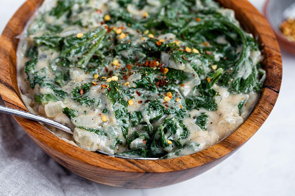 Creamed Mizuna Mustard Greens