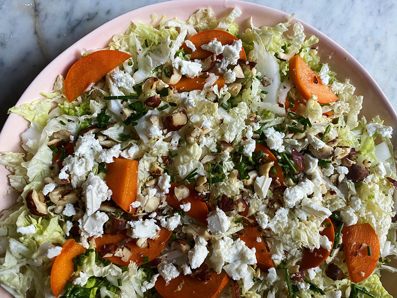 Napa Cabbage Salad with Persimmons and Feta