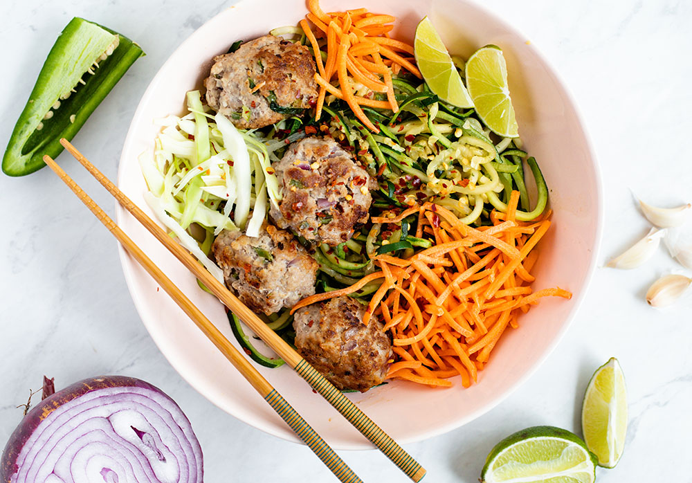 Vietnamese Meatballs with Zucchini Noodles