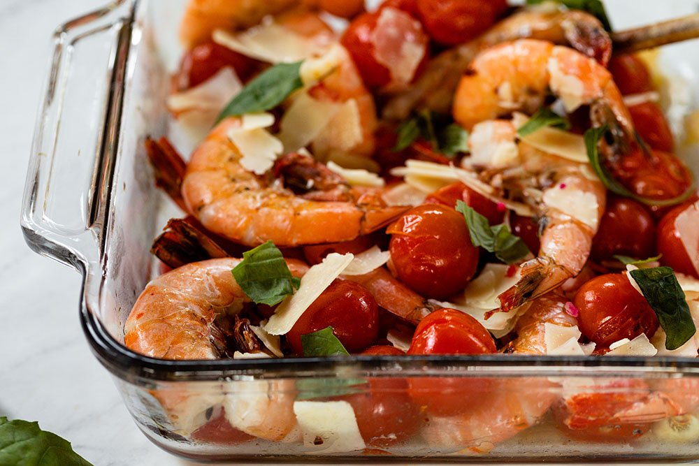 Roasted tomatoes and shrimp